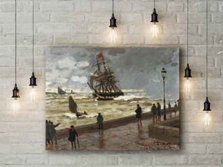 Claude Monet: Jetty of le Havre in Bad Weather. Fine Art Canvas.